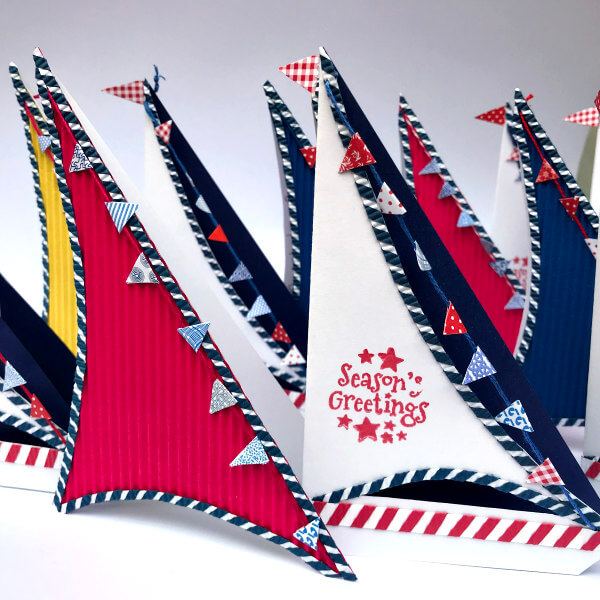 Quilled and crimped paper sailboat cards