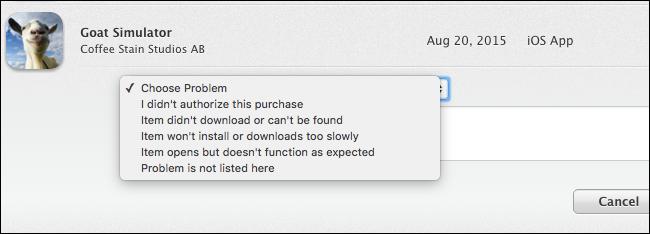 Il rimborso sugli App Store di Apple