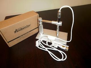 Microscópio Andonstar V1 com suporte.