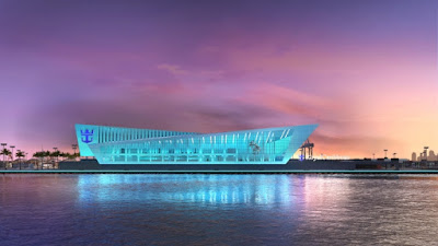 Royal Caribbean's Proposed New Miami Cruise Terminal at Night.