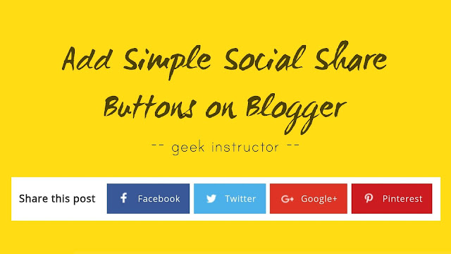 Add simple social share buttons widget on Blogger