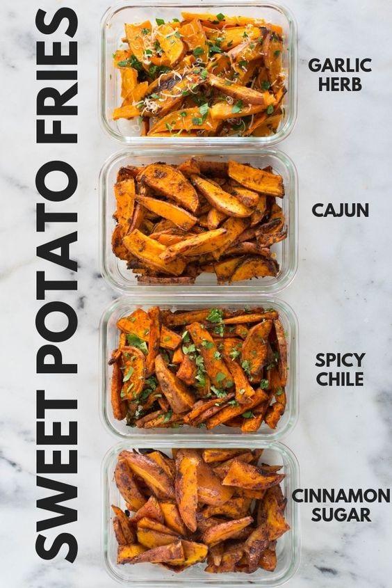 Easy Sweet Potato Meal Prep - Baked Sweet Potato Fries 4 Ways