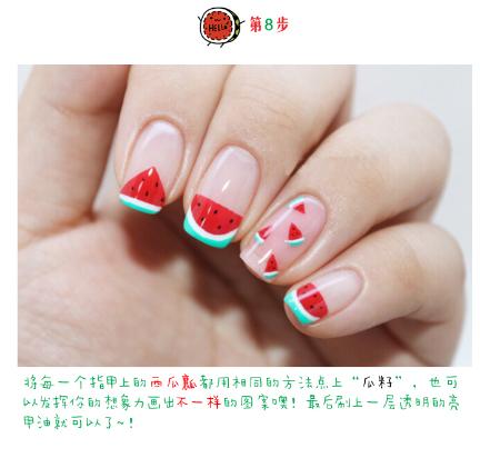 Summer Spring Kawaii Cute Watermelon Nail Art Tutorial Diy