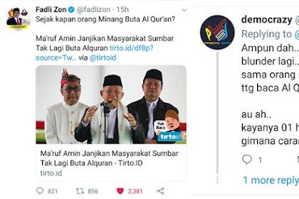 Ma'ruf Amin Mau Berantas 'Buta Quran' di Sumbar, Fadli Zon: Sejak Kapan Orang Minang Buta Qur'an?