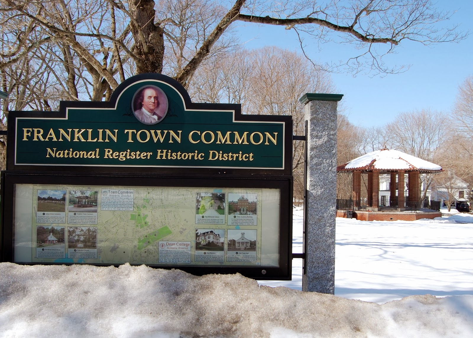 National Register Historic District marker on the Franklin Town Common