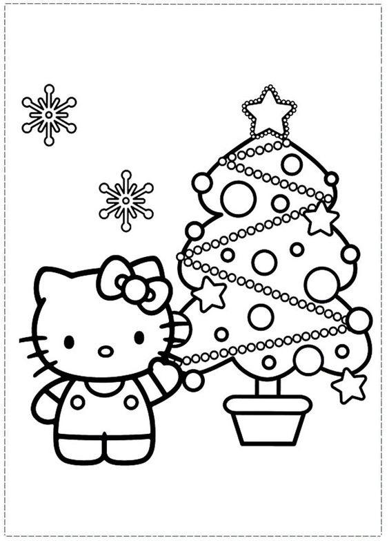 Tranh tô màu mèo hello kitty và cây thông noel