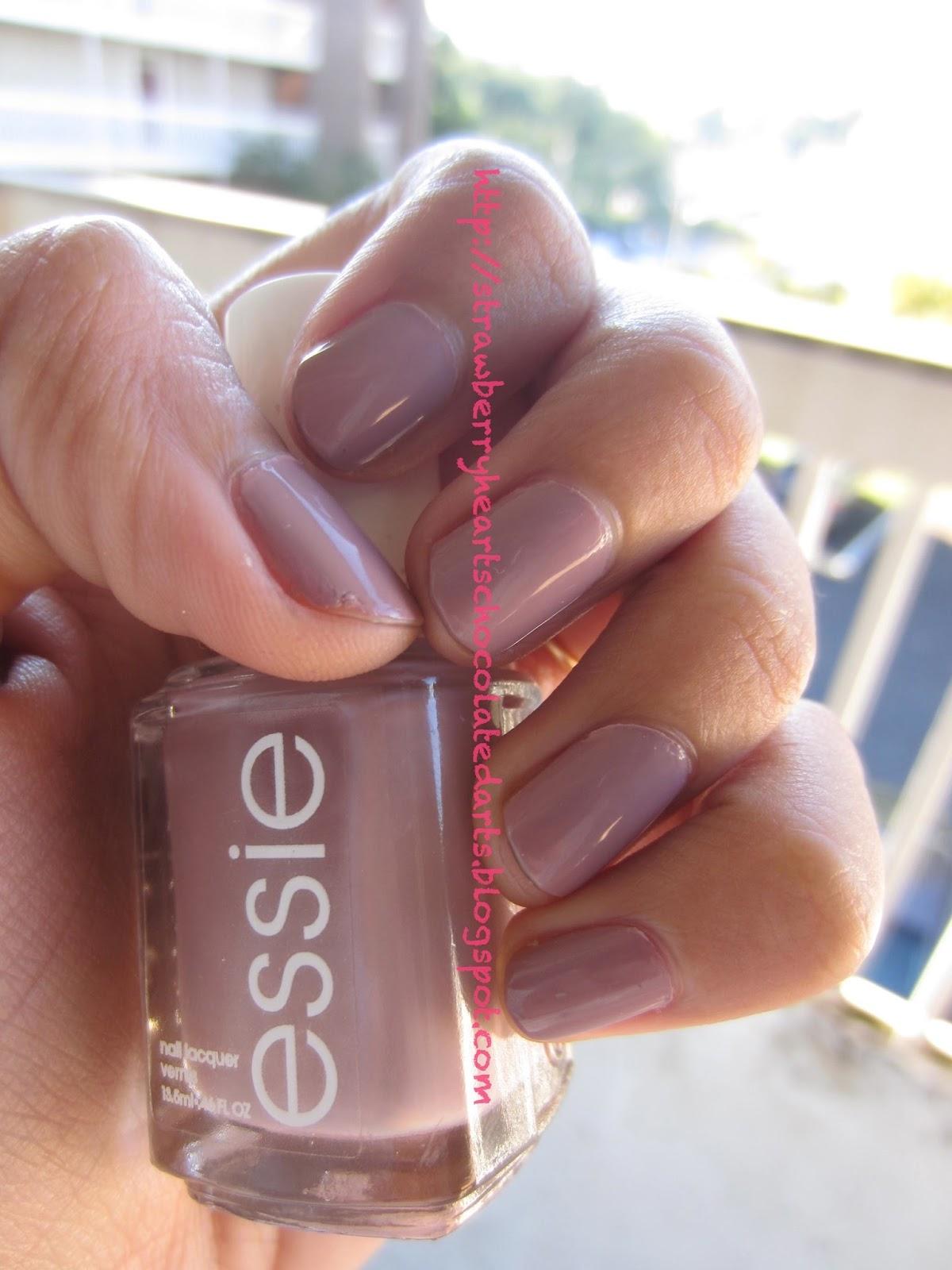 Strawberry Hearts Chocolate Darts Essie Nail Polish Lady Like Neutral Manicure For Fall Autumn