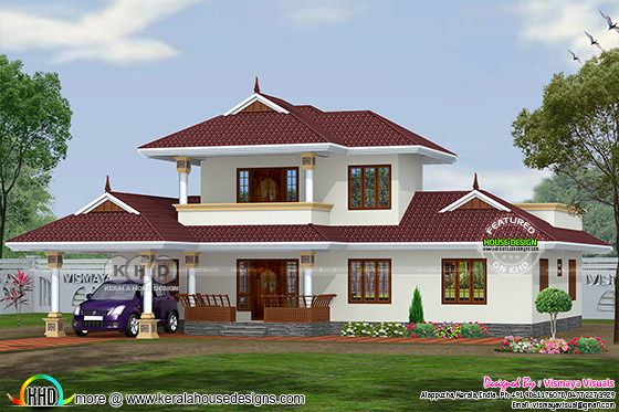 2215 square feet 3 bedroom typical Kerala home