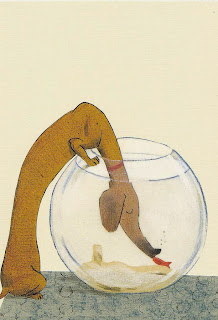 dachshund kissing a goldfish illustration by german illustrator Wolf Erlbruch