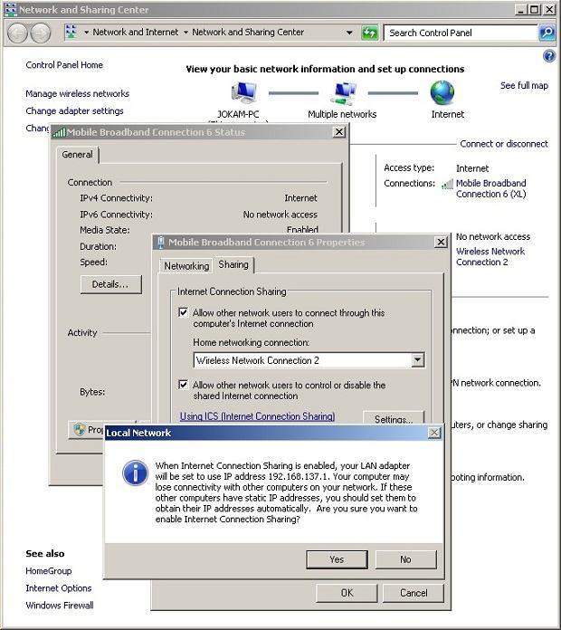 settingan lengkap cara share internet dari laptop dengan command prompt
