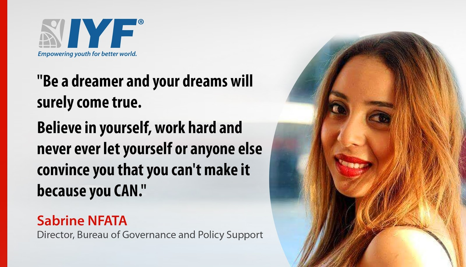 Sabrine Nfata, IYF Director of Bureau of Governance & Policy Support