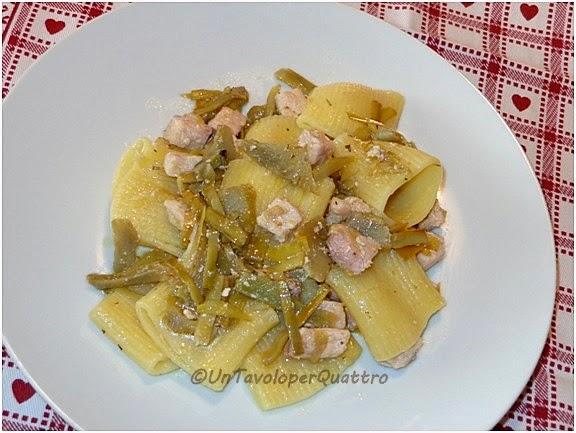 Pasta con carciofi e pesce spada ricetta