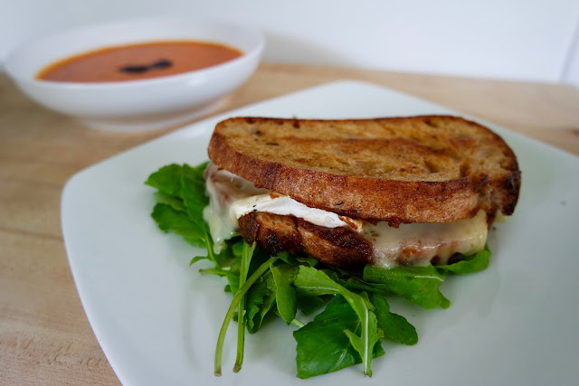 Grilled Cheese Sandwich with Brie and Jay D's barbecue date jam.