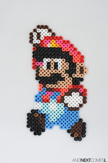 Super Mario perler bead craft from And Next Comes L
