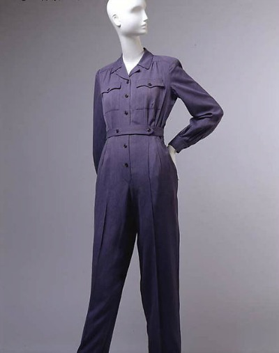 Navy Blue women's jumpsuit designed by Vera Maxwell on display on mannequin