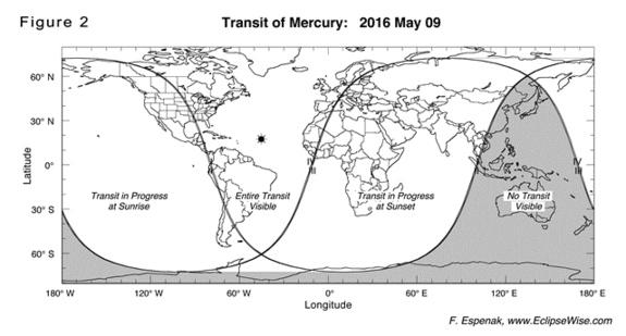 Transito de Mercurio 2016 - visibilidade