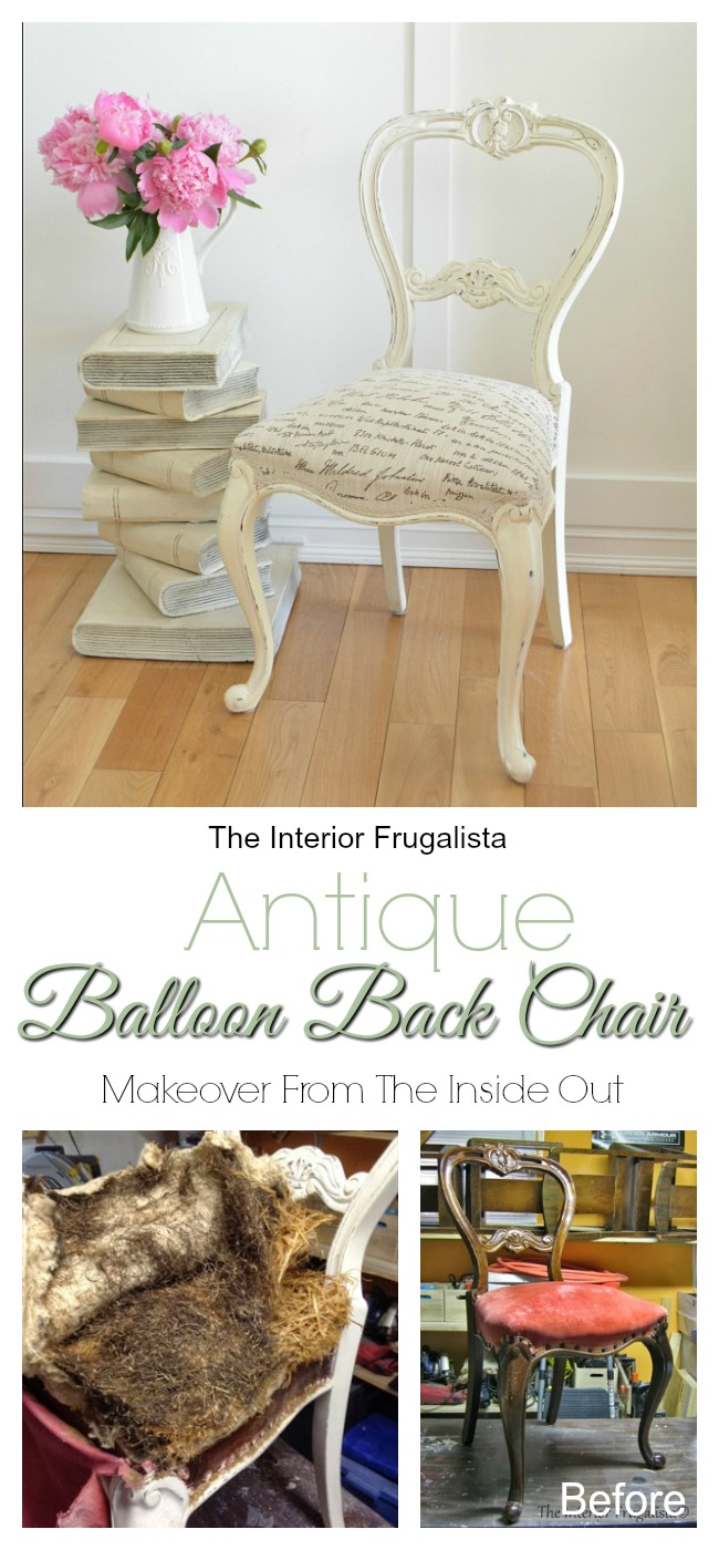Antique Balloon Back Chair Makeover From Inside Out