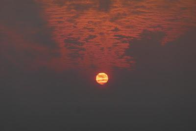 Medicine Hat, Alberta, landscape, forest fire, sun, clouds, haze, sunrise