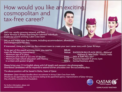 Qatar Airways Cabin Crew interview in Delhi