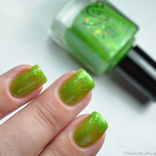 jelly green nail polish with shifting flakies