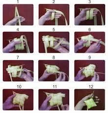 Foto Proses Pembuatan Ketupat Anyaman Daun Kelapa