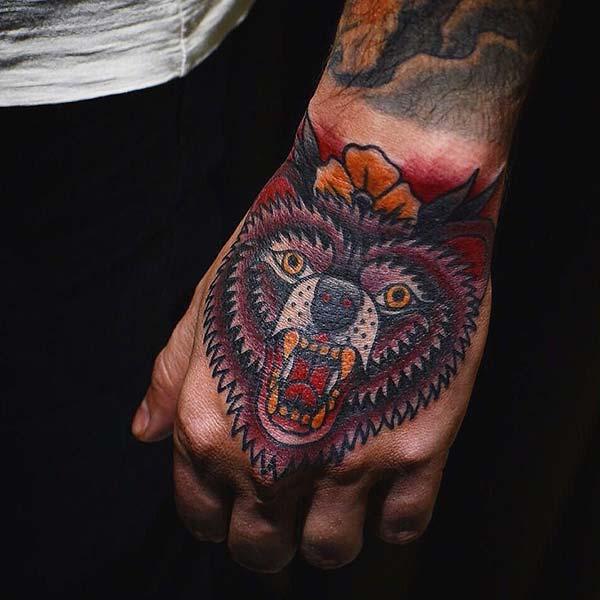 hand tattoo bear el dövmesi ayı