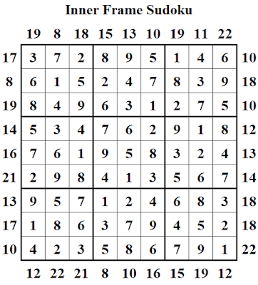 Answer of Inner Frame Sudoku Puzzle (Fun With Sudoku #312)