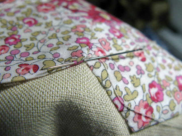 Slip stitch hexagons flowers onto fabric ~ Threading My Way