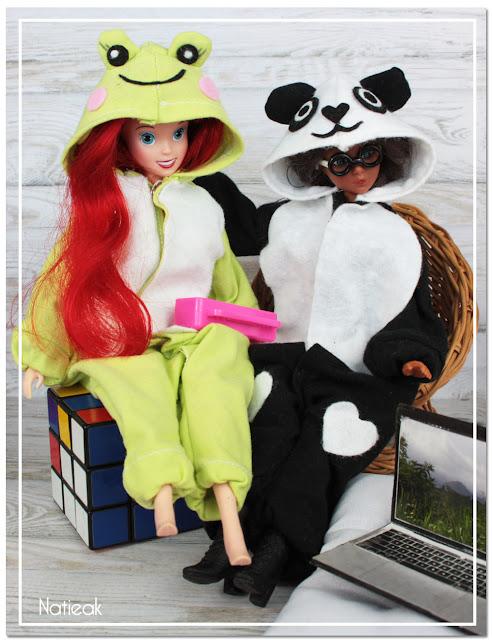 Kigurumi grenouille et panda pour Barbie