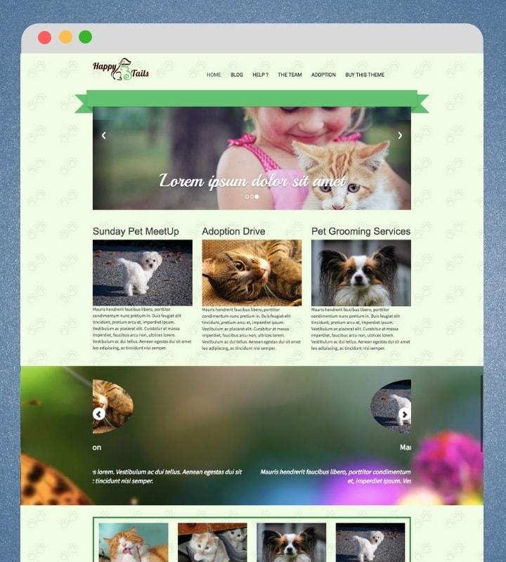 HappyTails (Pet Care WordPress Theme)