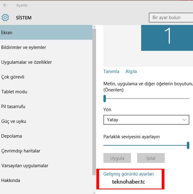 Windows 10 ekran