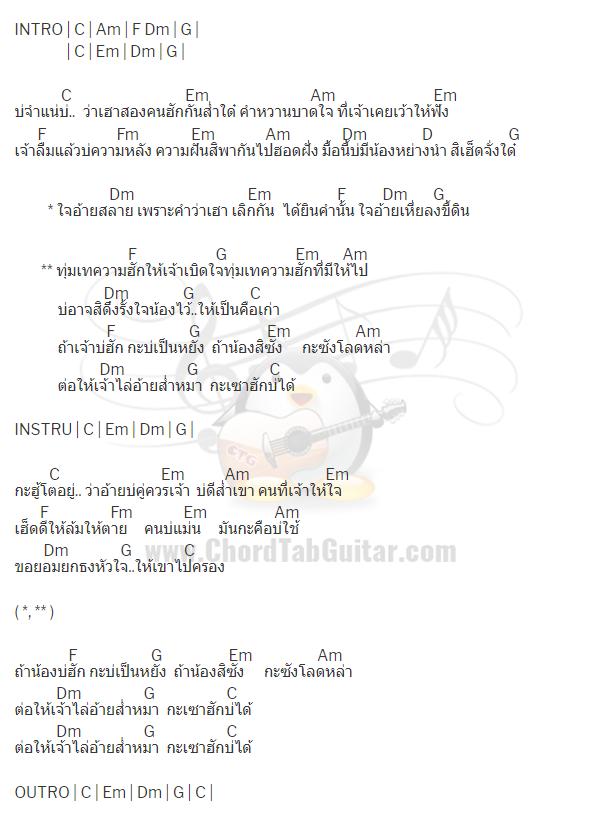 คอร์ดเพลง เซาฮักบ่ได้ - บอย พนมไพร