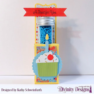 Divinity Designs Stamp Set: Treat Tag Sentiments 2, Custom Dies: Beverage Cup, Scalloped Circles, Birthday Candles, Test Tube Treats, Paper Collection:  Birthday Bash, Small Test Tubes