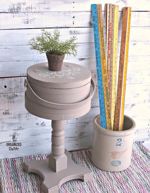 Thrift Shop Firkin Repurposed As Pedestal Side Table #thriftshopmakeover #garagesale #firkin #Upcycle #repurpose #stencil #fusionmineralpaint