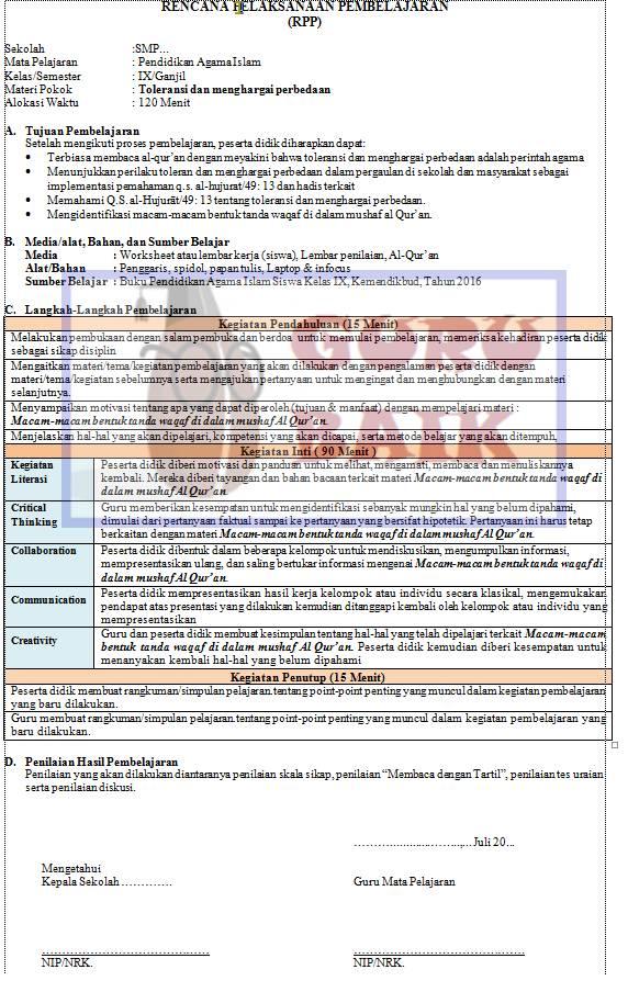contoh RPP PAI SMP 1 lembar