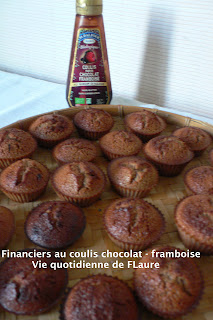 Vie quotidienne de FLaure: Financiers au coulis chocolat - framboise