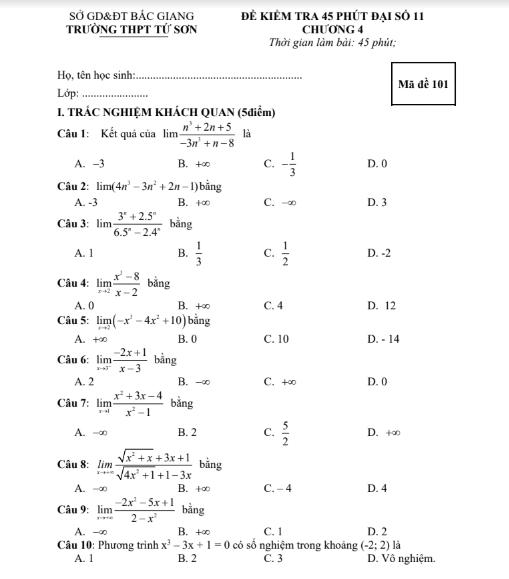 Đề kiểm tra 1 tiết chương giới hạn , có đáp án