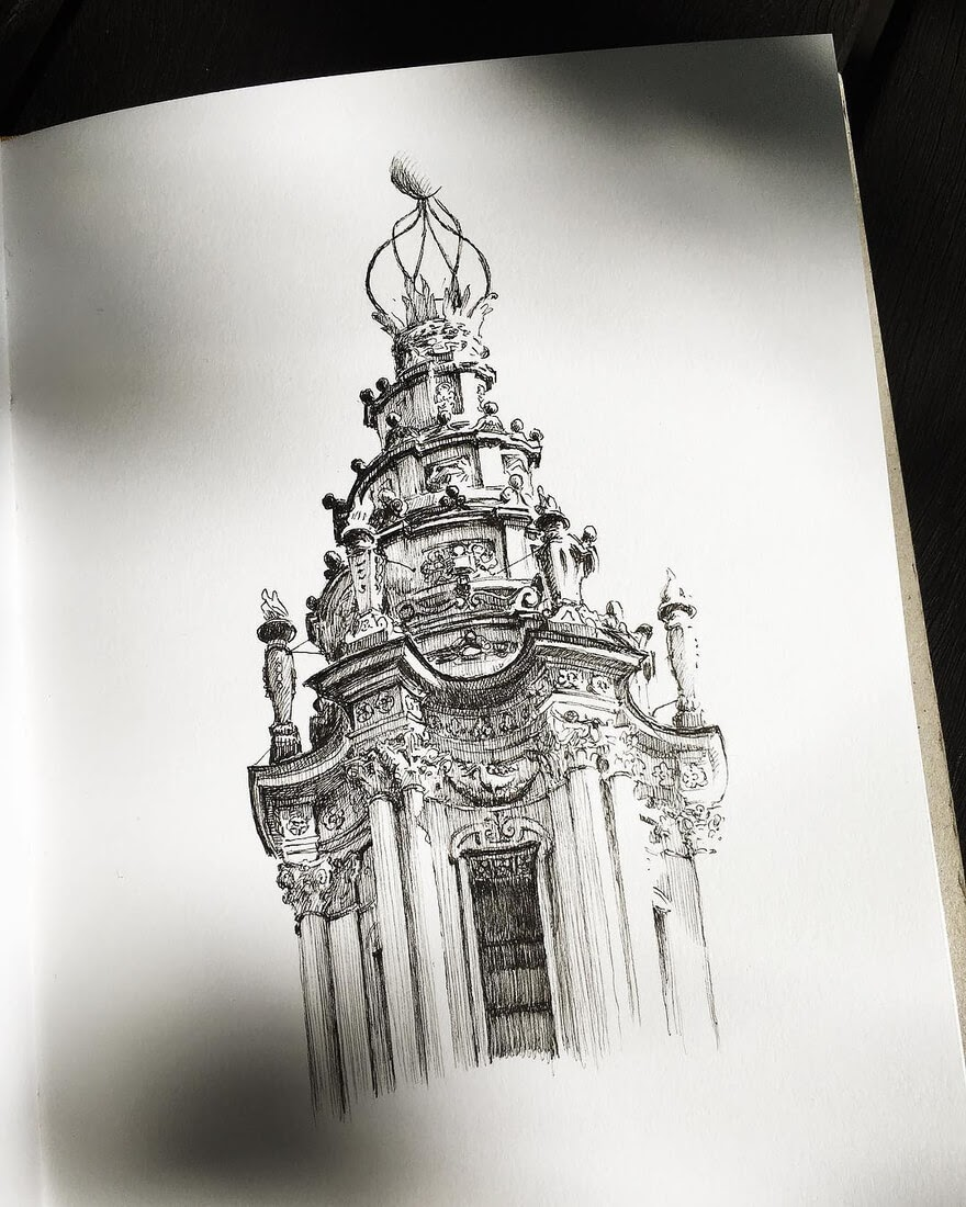 13-South-Yarra-Victoria-Australia-Mark-Poulier-Drawing-Urban-Architecture-on-a-Sketchbook-www-designstack-co