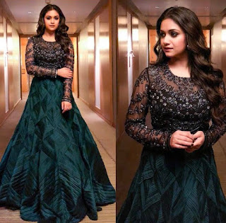 Keerthy Suresh in Black Dress with Cute Smile at Pandem Kodi 2 Audio Launch