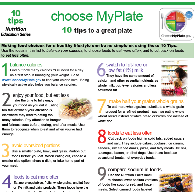 Eat Right Knox: Choose MyPlate: 10 Tips to a Great Plate!