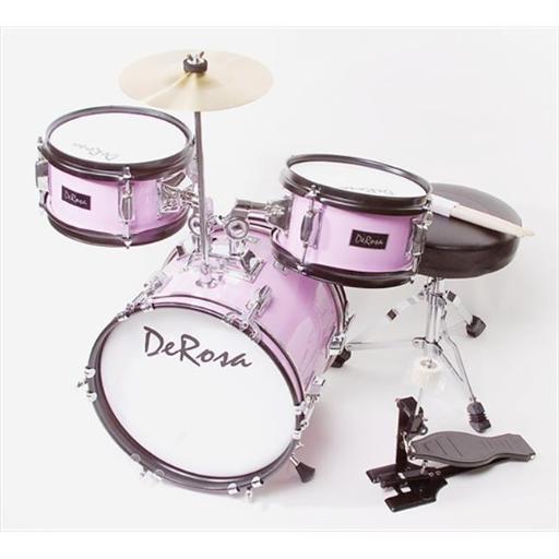 De Rosa DRM312-MPK 12 in. Kids Children Drum Set in Pink - 3 Piece Set