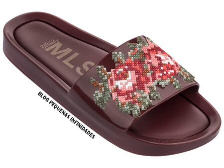 MELISSA BEACH SLIDE FLOWER BORDO