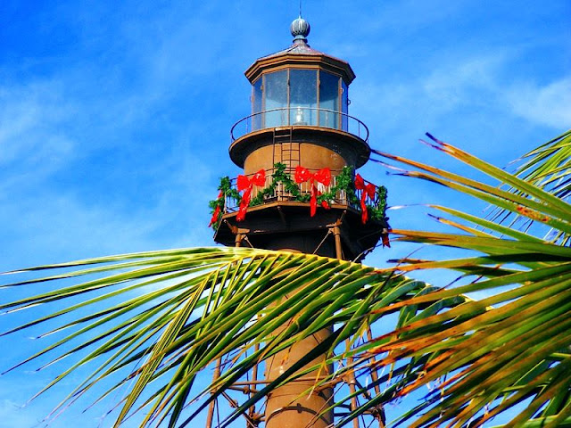 a picture of lighthouse, a landmark at light house beach at Sanibel Island