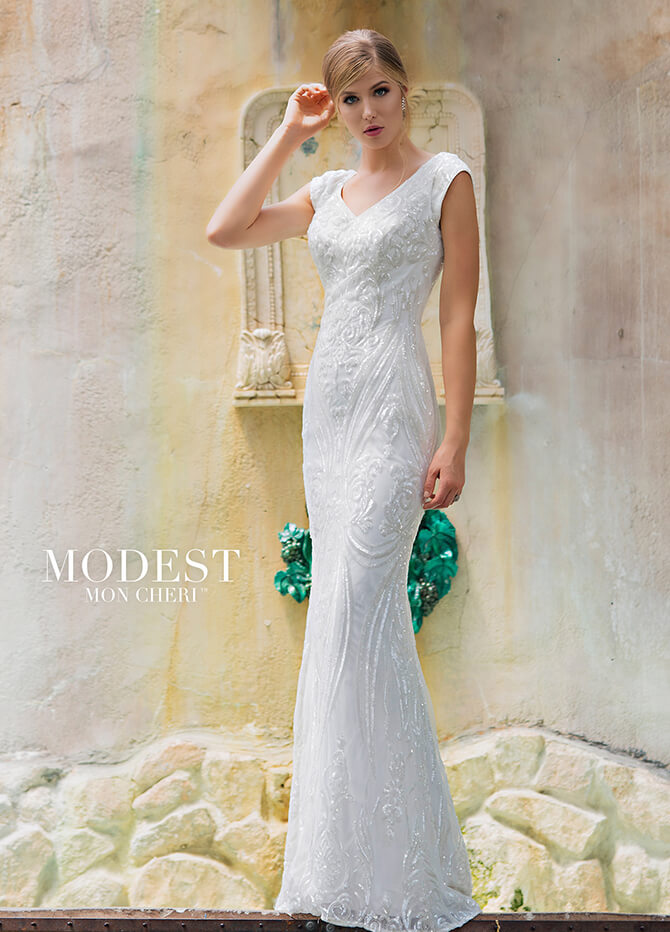 ed28ee5e983f Modest by Mon Cheri Spring 2018 Allover sequin lace sheath bridal gown with  cap sleeves