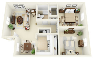 D FLOOR PLANS LAYOUT DESIGNS FOR BEDROOM HOUSE OR APARTMENT - Simple 2 bedroom house design
