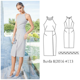Burda Style 8/2016 #113 couture dress www.loweryourpresserfoot.blogspot.com