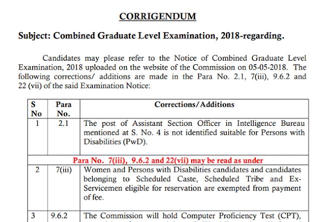 SSC CGL 2018 Official Corrigendum Notice - Download PDF - Exam Tyaari