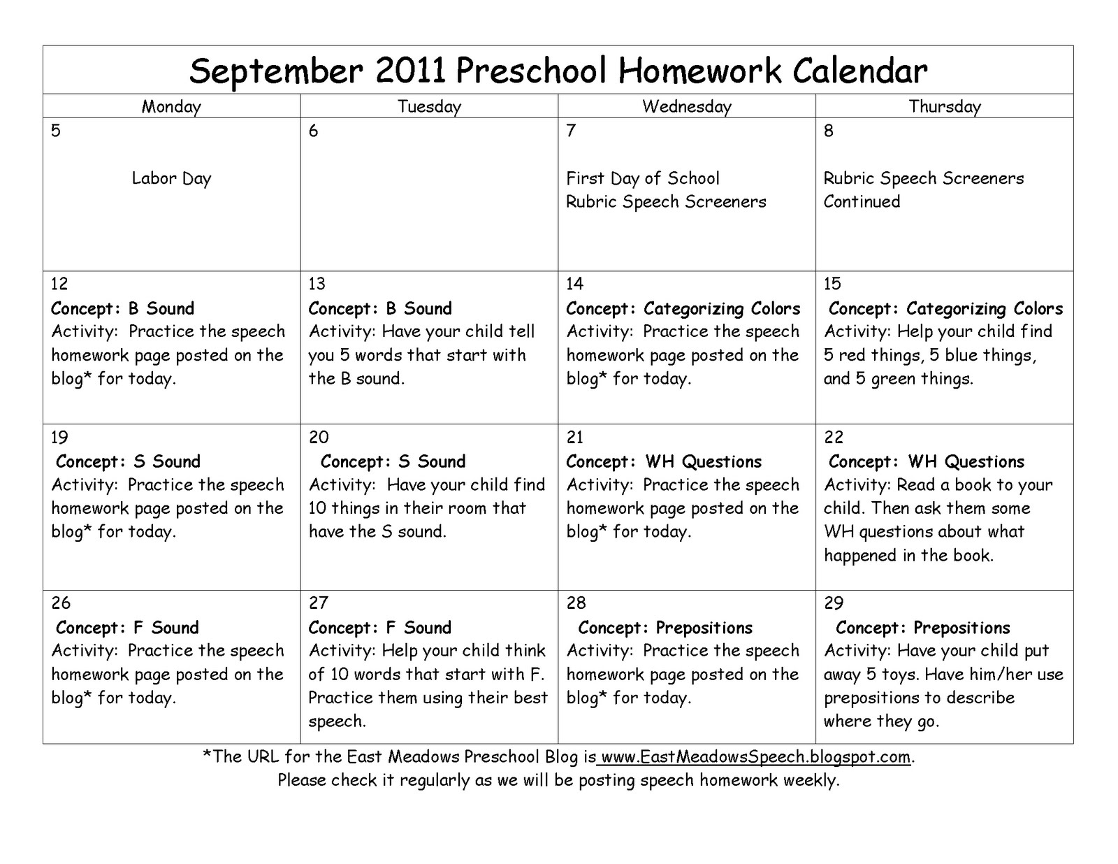 East Meadows Speech September Speech Homework Calendar