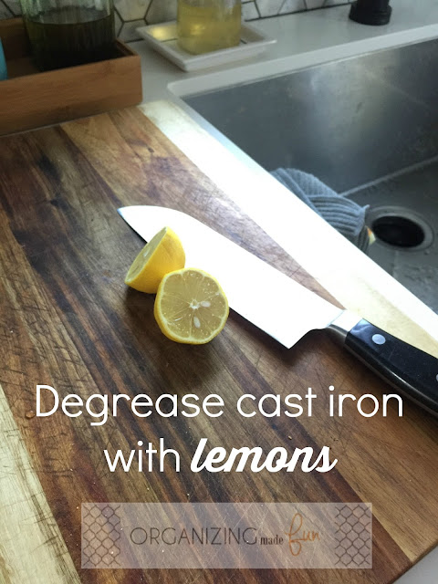 Degrease cast iron with lemons
