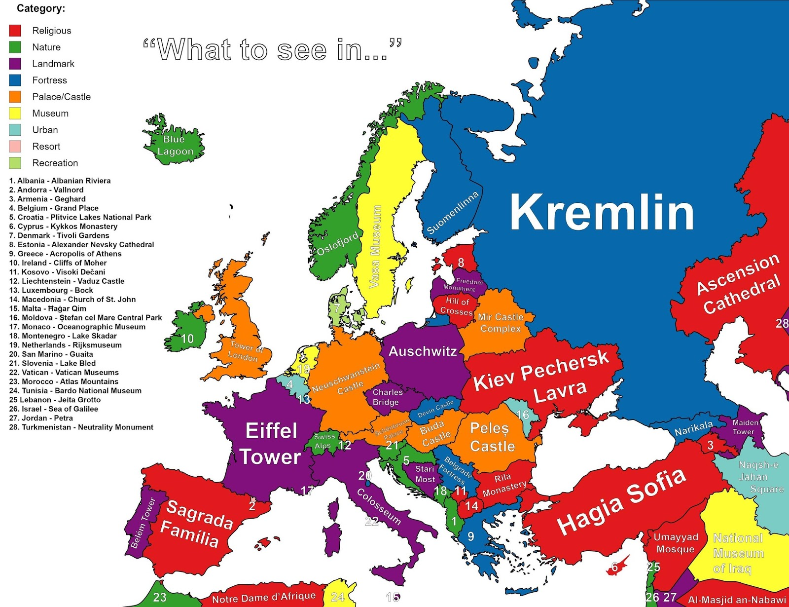 """What to see in..."" autocompleted by Google for each country on this map"